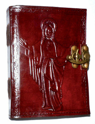 """Jesus Cover Celtic Cross Leather Journal 5"""" x 7"""" Metal Latch Closure Embossed"""