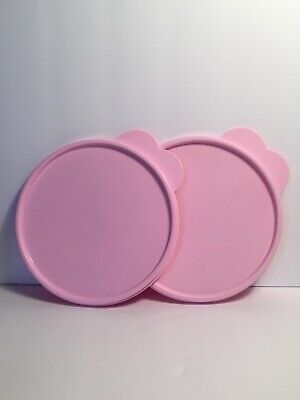 Lot of 2 Tupperware Replacement Lid Pink C Tab 2541D Lid Only