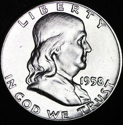 UNCIRCULATED NICE BELL LINES 1958 Franklin Silver Half Dollar FREE SHIPPING