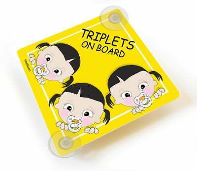 Personalized Triplets Sisters On Board Car Sign Three Adorable Toodlers