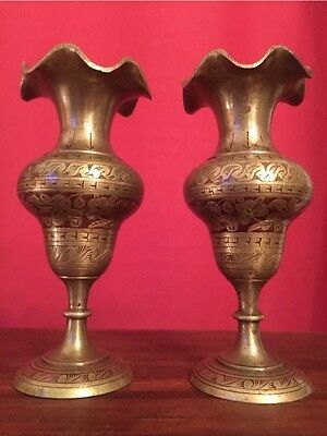 Made In British India - Antique Pair Brass Red Enameled Etched Painted Vases