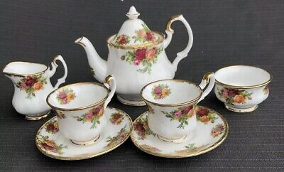 ROYAL ALBERT OLD COUNTRY COMPLETE MINIATURE TEA SET  ALL 1st Quality