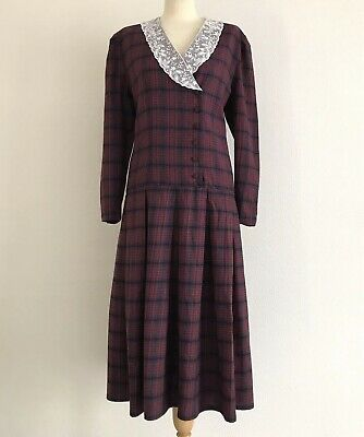 LAURA ASHLEY Vintage Check Mid-Length Dress with Lace Collar & Drop Waist UK16