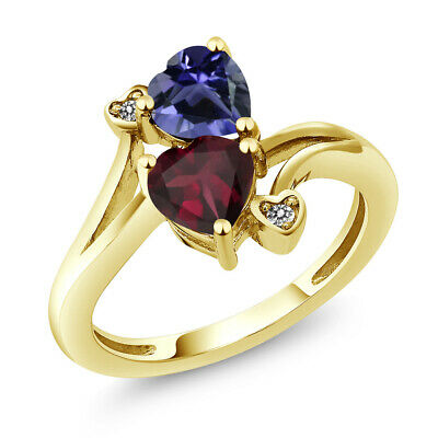 1.33 Ct Heart Shape Red Rhodolite Garnet Blue Iolite 10K Yellow Gold Ring