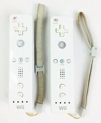 LOT OF 2 OFFICIAL Nintendo Wii Remote Controllers OEM RVL-003 Wiimotes - Tested