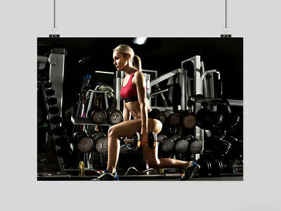 Sexy Girl Fitness Poster Gym Workout Weights Weightlifting Yoga  A3 A4 Size