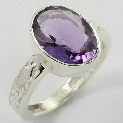 925 Sterling Silver Indian Artisan Ring Size US 9 Real AMETHYST Faceted Gemstone