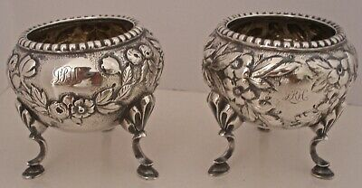 Gorgeous Pair Of S Kirk & Son 11 Oz Sterling Footed Open Salt Dishes C. 1880-90