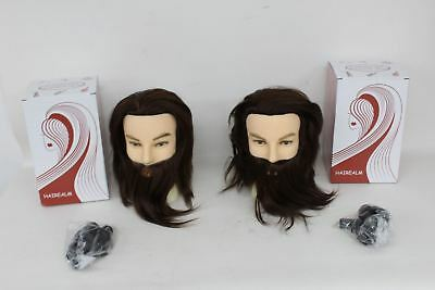 2x BNIB HAIREALM Man Mannequin Head With Real Hair And Beard For Hairdressing