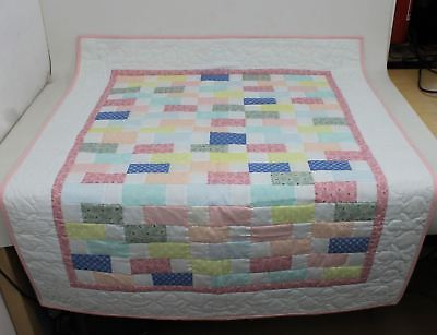 Multi-Coloured Block Pattern Baby & Toddler Quilt For Floor Or Bed 49 x 40""