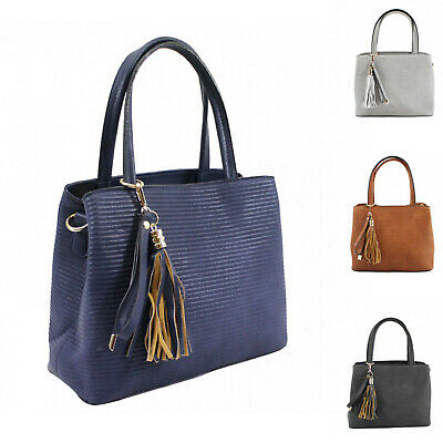 Woman Synthetic Leather S-Medium Neat Horizontal striped Tote Shoulder Handbag