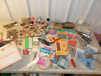 Lot of Vintage Sewing Notions Needles Scissors WISS PINKING SHEARS WOOD  Spools