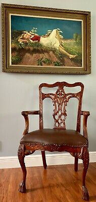 Antique Pretzel Chippendale Mahogany Leather Accent Chair Lion Paw Philadelphia