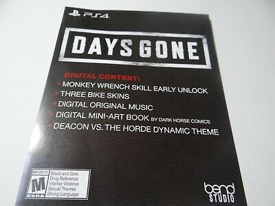 Days Gone PS4 Collector's Limited Edition DLC Slip (No Game!) Sony Bend Studio