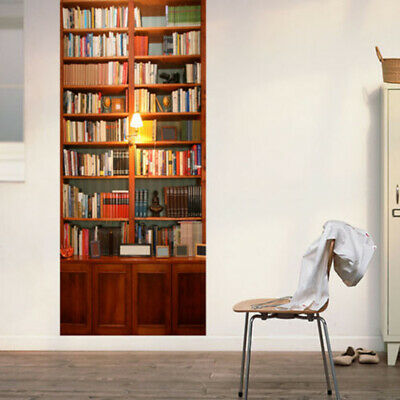 3D Retro Bookcase Self Adhesive Bedroom Door Murals Wall Sticker  30.3x78.7inch