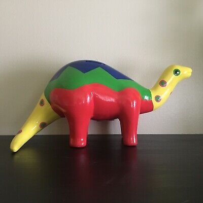 Handpainted Dinosaur Piggy Bank Made in Mexico Signed BEAUTIFUL! Colorful