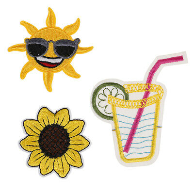 T shirt Embroidered patch Sunflower sun Applique iron on patches.