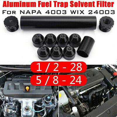 1/2-28 5/8 -24 Fuel Trap Solvent Filter For Napa 4003 WIX 2400 6061-T6 AutoPart.