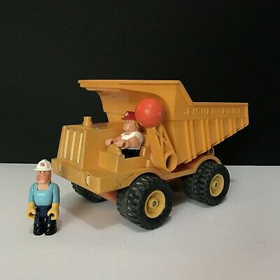 "Vintage Fisher Price Construction Dump Truck 14""L With Org Drivers Little People"