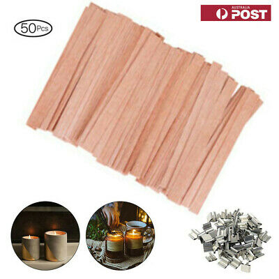 50PCS Wooden Candle Core Wicks Pedestal Candle DIY Making Supplies