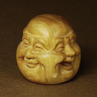 Antique Japanese Wood Netsuke Boxwood Handicraft 4 Face Buddha Carving WN918