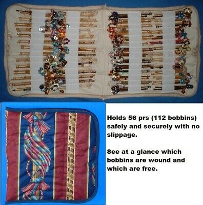 Padded Zip Bobbin Bag Holds 56 Prs Safely & Securely  'Swags' Pattern