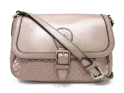 9222b032e Authentic GUCCI Micro Guccissima Shoulder Bag 308452 Leather Pink 69983