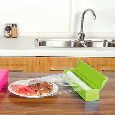 Household Plastic Kitchen Foil And Cling Film Wrap Dispenser Cutter Storage Box