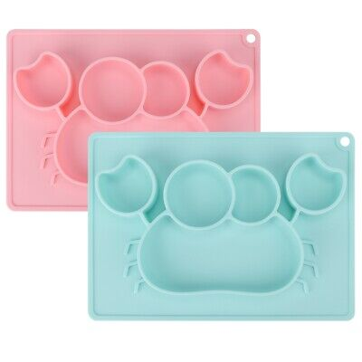 Kids Silicone Bowl Dinner Plate Dish Tray Dessert Baby Food Feeding Tableware