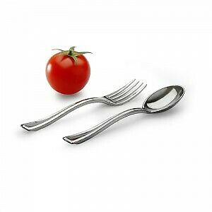 1000 x Metallic Finish Plastic Tasting Forks Recyclable | Catering Supplies