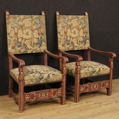 Armchairs Chairs Couple Furniture Seats French Wood Painting Fabric Antique