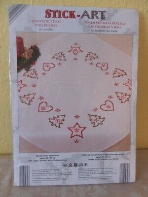 Vintage Embroidery Christmas Table cloth cross stitch kit Complete with threads