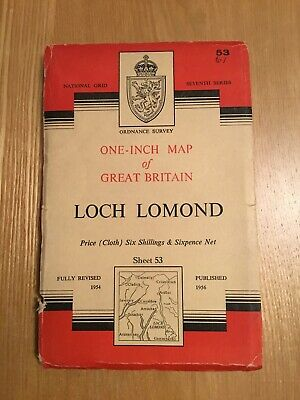1956 Ordnance Survey One Inch Seventh Series Cloth Map 53 Loch Lomond