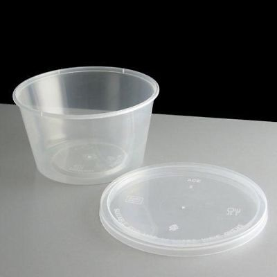 250 x Round Clear Plastic Microwave Freezing Takeaway Containers + Lids - 10oz