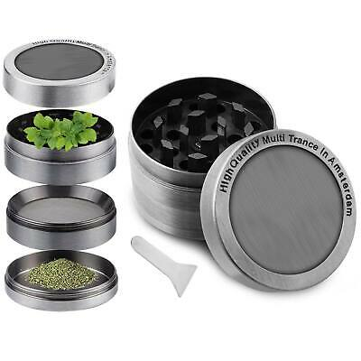 2 Inch 4 Piece Herb Grinder Magnetic Spice Crusher Zinc Alloy Hand Muller Silver