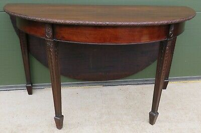 Antique Georgian Carved Mahogany D-End Drop-Leaf Dining Supper Table