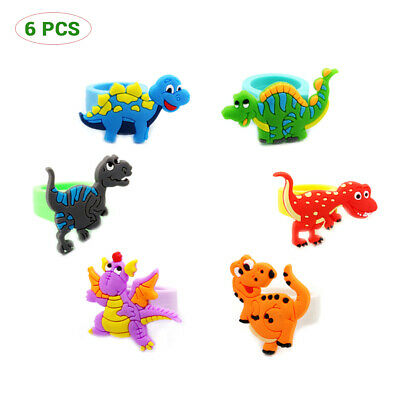 6Pcs Environmental silicone Cartoon Dinosaur PVC Rings Child Party Favour New