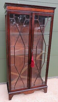 Mahogany Astral-Glazed Display Cabinet Bookcase in the Antique Regency Style