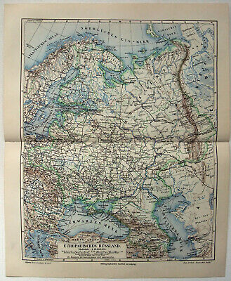 Original 1908 Map of European Russia by Meyers. A German Antique