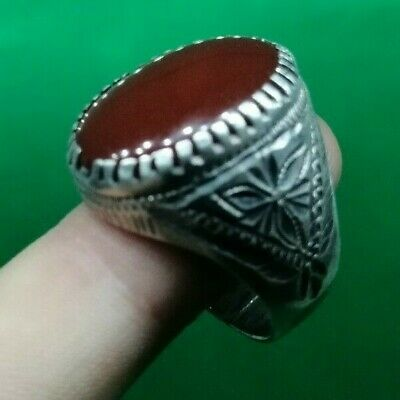 HUGE MASSIVE 16g SILVER MEDIEVAL RING WITH CARNELIAN STONE - circa 1500 AD