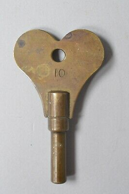 Large Antique Brass Fusee Spring Winder Winding Clock Key No 10 8cm