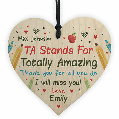 Personalised TA Assistant Gift Wood Heart Thank you Teacher Leaving Nursery Gift