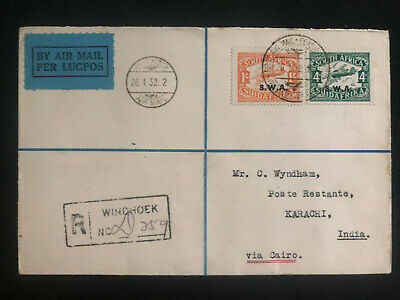 1932 Windhoek South West Africa Airmail Cover to Karachi India Via Cairo