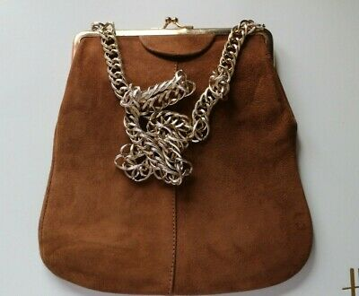Vintage 1960's Brown Suede Leather Pouch Shoulder Bag Chunky Gold Chain Handle