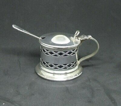 Vintage Silver Plated Mustard pot with Blue Liner and Spoon