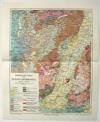 Original 1908 Geological Map of Alsace Lorraine by Meyers. France Germany