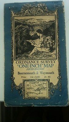 Vintage  OS map of Bournemouth and Weymouth Sheet 140 (on cloth)