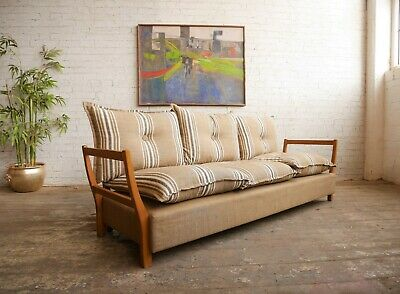 Vintage 70s Retro Mid Century Modern Danish Style Studio Couch Sofa Day bed