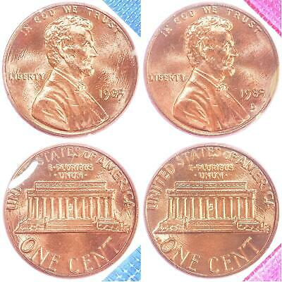 1985 P D Lincoln Memorial Cent BU US Mint Cello 2 Coin Penny Set