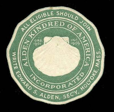 USA Poster Stamp - Alden Kindred of America c1900s - Die-Cut Embossed with Shell
